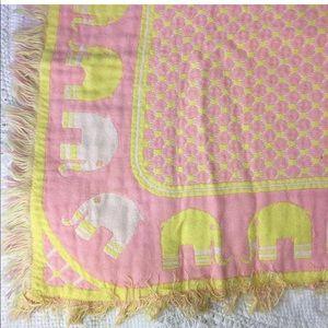 Vtg Baby Blanket Pink Yellow Elephants 70s Nursery